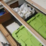 Master cabin under bed storage (alcohol storage!)