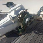 Old teak on foredeck around windlass