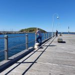 Robert looking across to the marina