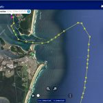 Screenshot from Marine Traffic showing our route across the bar and into Iluka Bay