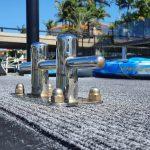 Very shiny cleats on a pontoon