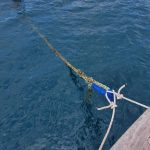 The mooring rope was very thick and we needed to add our own bridle to attach it to the boat