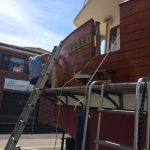 Transom oiling started