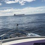 Taken when boat was rolling a bit, hence not horizontal