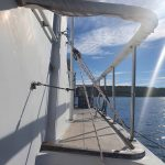 Pulley attaches to the radar arch on the flybridge