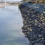 The waterline shows the tide changes